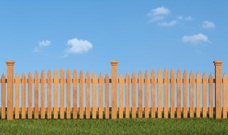 Wooden fence on grass in sunny day - rendering Stock Photo - 24597717