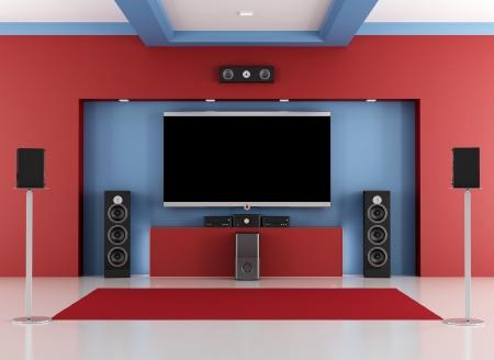 Красный и синий зал с домашним кинотеатром LED TV - оказание Фото со стока