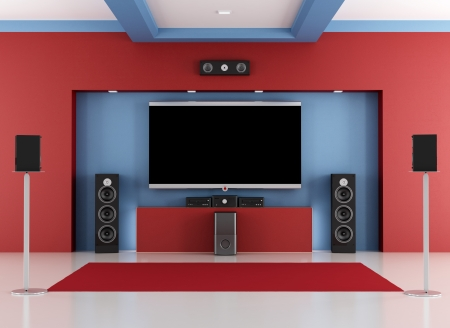 home theatre: Red and blue home cinema room with led tv - rendering