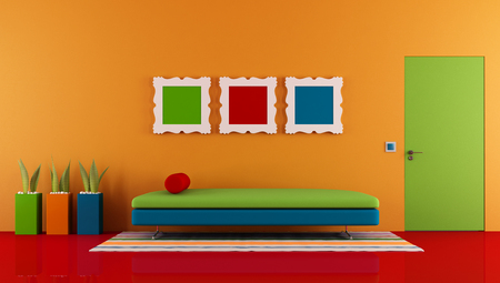 red sofa: Colorful room with couch and closed door - rendering Stock Photo