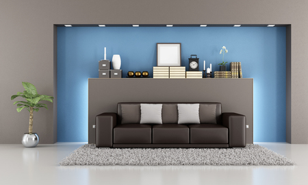 Elegant living room with brown sofa and niche - rendering Stock Photo - 24930246