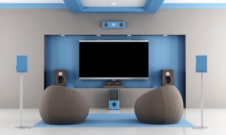 モダンな茶色と青ホームシアターに 2 つのファッション アームチェア - レンダリング