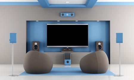 audio equipment: modern brown and blue home theater with two fashion armchair - rendering