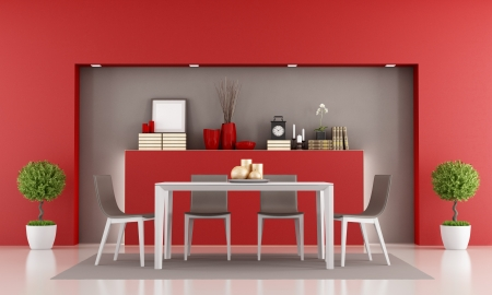 niche: Red dining room with niche and minimalist table - rendering Stock Photo