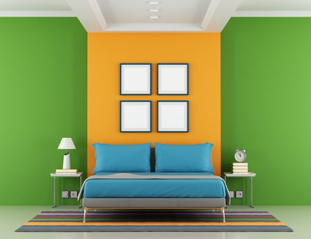 Green and orange minimalist bedroom with double bed and nightstand Stock Photo - 25278649