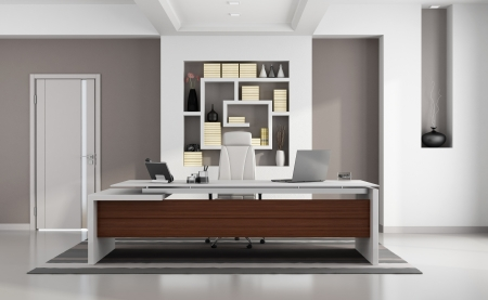 Contemporary modern office with elegant desk, niche and closed door