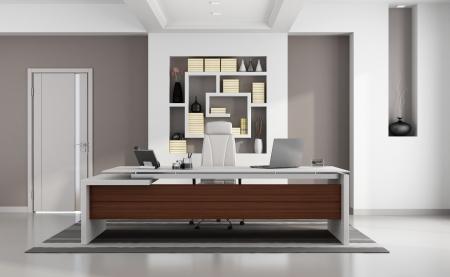 Zeitgenössische moderne Büro mit eleganten Schreibtisch, Nische und geschlossene Tür