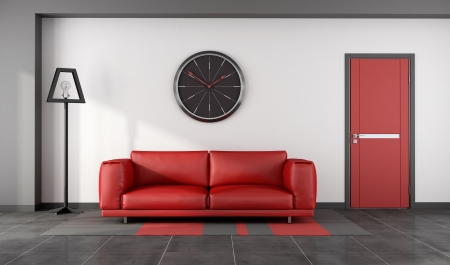 Minimalist lounge with red sofa and closed door - rendering photo
