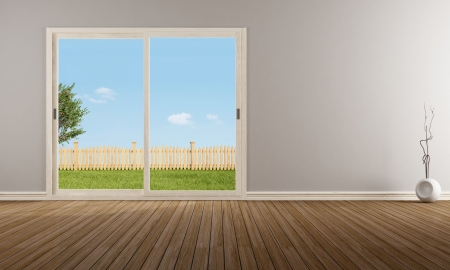 Empty modern living room with closed sliding window - rendering - the image on background is a my rendering composition Stock Photo