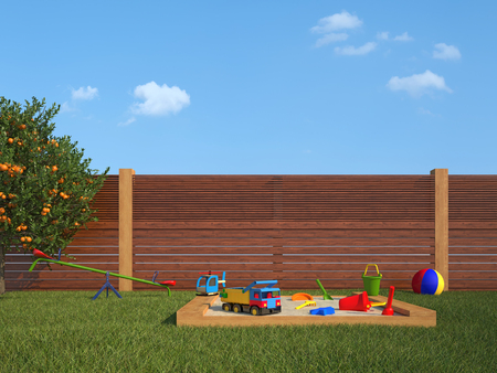 sandpit: Garden with sandpit and playground for children
