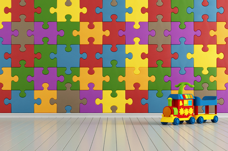 babyroom: Toys room with colorful puzzle on wall and plastic train - rendering
