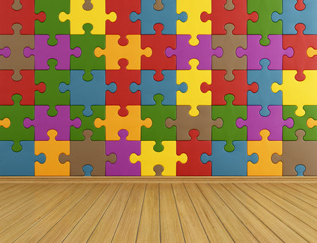 babyroom: Toys room with colorful puzzle on wall and wooden floor - rendering Stock Photo