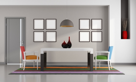 Colorful dining room with door and niche - rendering Stock Photo - 25278703