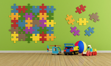Child room with puzzle on wall and toys - rendering photo