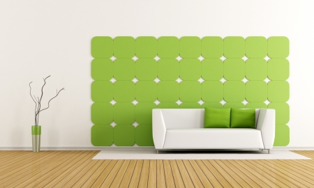 gypsum: Living room with green gypsum panel on wall and modern sofa - rendering Stock Photo