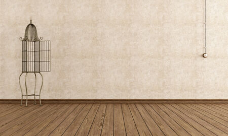 Empty vintage room with decorative iron cage photo