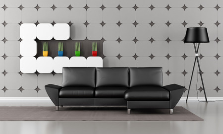 gypsum: Modern living room with black sofa and gypsum panel on wall - rendering Stock Photo