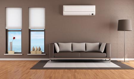 Современная коричневый гостиная с кондиционером - оказание