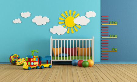 Child room with baby crib and toys - rendering Stock Photo