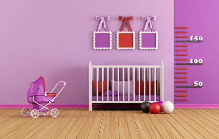 d�coration murale: Chambre de b�b� rose avec lit et jouets - rendu