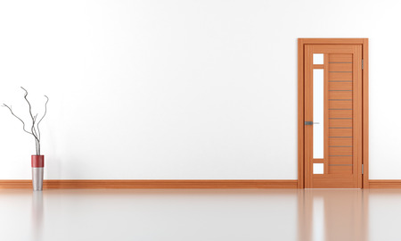 Empty white room with wooden door - rendering