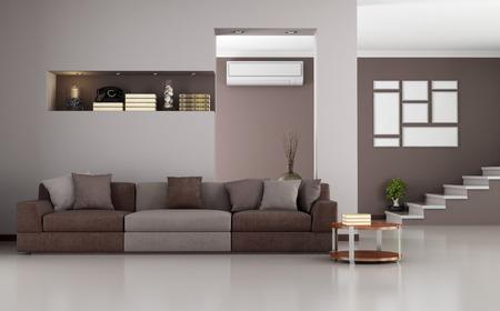 Бежевый и коричневый modernliving комната с лестницей и кондиционера - оказание Фото со стока