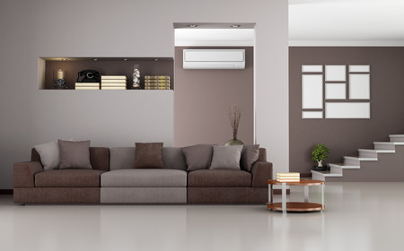 Beige and brown modernliving room with staircase and air conditioner - rendering photo