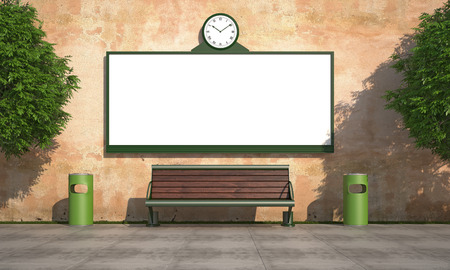 Blank street billboard on grunge wall with bench and recycle bins - rendering photo