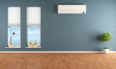 Blue empty room with two windows and air conditioner - rendering photo