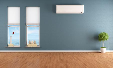 aire acondicionado: Sitio vacío azul con dos ventanas y aire acondicionado - la prestación