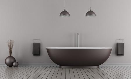 Minimalistische Badezimmer mit braunen Badewanne - Rendering