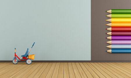 Playroom with big colorful pencils on wall and tricycle - rendering photo