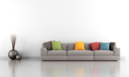 white wall: Minimalist living room with white wall and colorful sofa - rendering