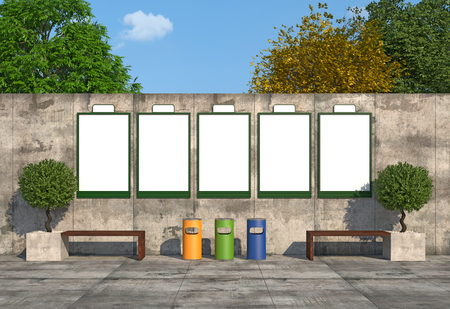 Blank street billboards on concrete wall with bench and colorful recycle bins - rendering photo