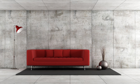 red sofa: Red modern sofa in a concrete room - rendering Stock Photo