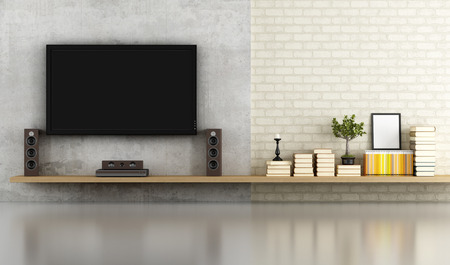 living room without furniture with shelf ,tv and concrete panel - rendering photo