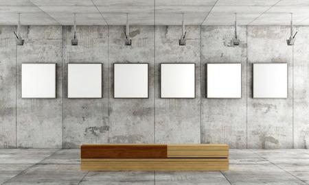 Galerie d'art grunge avec de la toile sur panneau de béton et banc en bois-rendu contemporain Banque d'images - 26082350