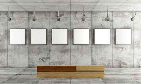 Grunge art gallery with canvas on concrete panel and wooden  contemporary bench- rendering Stok Fotoğraf