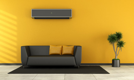 room air: Modern living room with black couch and air conditioner on wall - rendering