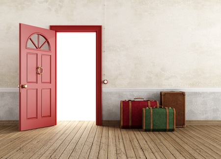 Vintage empty interior with three travel bags near the front door open - rendering Stock Photo