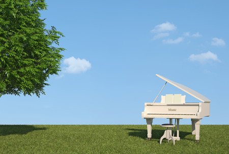 晴れた日の草の上の白いグランド ピアノのレンダリング