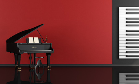 piano: Black and red music room with grand piano - rendering