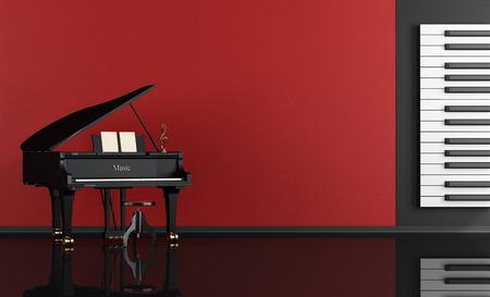 Zwart en rood muziekkamer met vleugelpiano - rendering Stockfoto