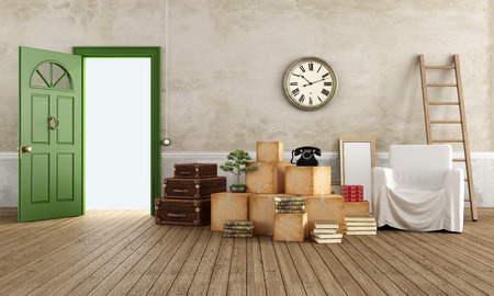 cardboard house: Vintage interior with cardboard boxes, scale, suitcase, armchair and books, ready for the move - rendering Stock Photo
