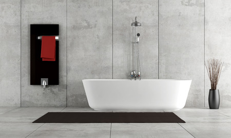 Minimalist bathroom with bathtub and shower - rendering photo