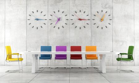 Sala de conferencias de colores con mesa de reuniones, una silla y un reloj - la prestación