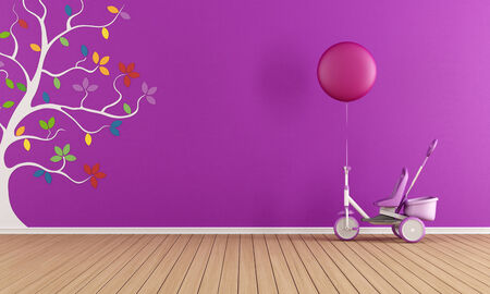 Purple child room with tricycle and colorful tree on wall photo