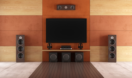 home theatre: Modern home theater room without furniture - rendering