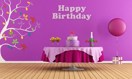 lilla: Colorful Birthday party interior with round table with cake and champagne, girl version - rendering Stock Photo