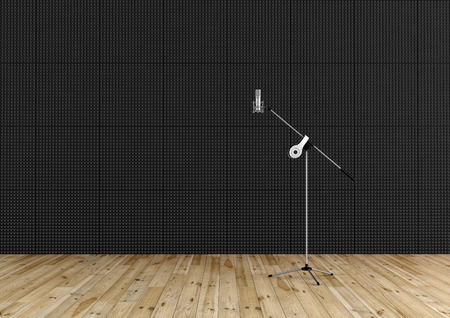 Professional microphone in a recording studio with black acoustic panel and wooden floor - rendering photo